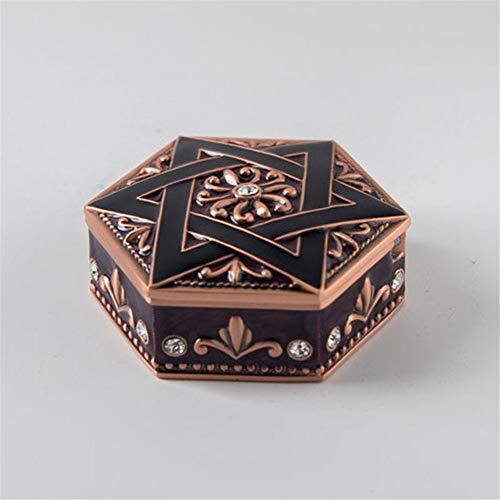 GOCF Caja de joyería de aleación de Zinc Caja de Regalo de Fiesta de cumpleaños de pequeña Boda Caja de Almacenamiento de joyería Retro Creativo Europeo Pulsera de Anillo de Pendiente.