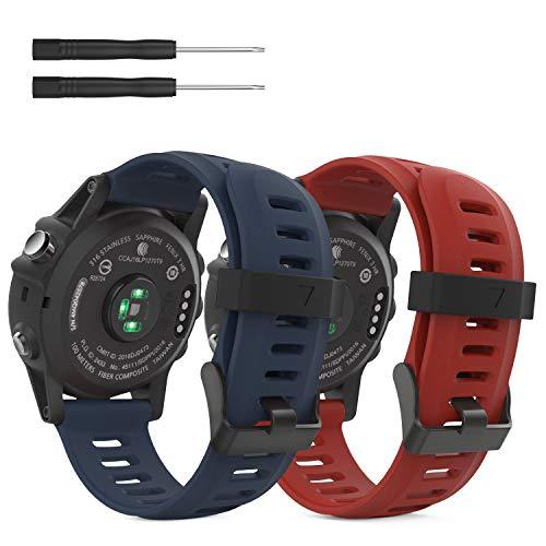 MoKo Armband Kompatibel mit Garmin Fenix 3/3 HR/5X/5X Plus/D2 Delta PX/Tactix Bravo/Descent Mk1 - Silikon Sportarmband Uhr Band Strap Ersatzarmband Uhrenarmband mit Werkzeug, Rot/Mitternachtsblau