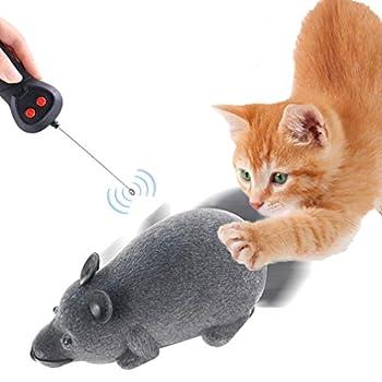 POPETPOP Chat Électrique Chassant des Souris Télécommande Rat Chaton Jouet Animal Teaser Jouant Jouet Chien Chat Jouet Mobile Interactif (Couleur Aléatoire sans Batterie)