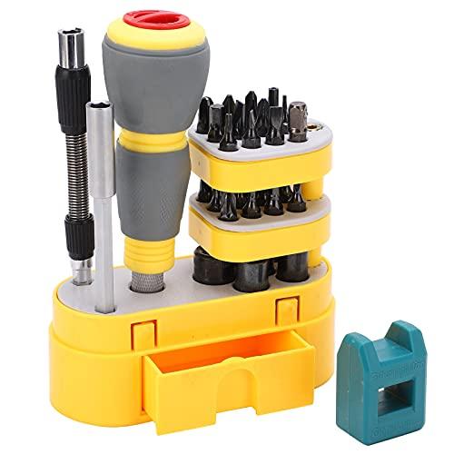 Juego de destornilladores de trinquete de 34 piezas, juegos de herramientas de reparación para computadora portátil, PC, muebles, trabajo manual de bricolaje