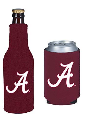 College Team Color Logo Can & Bottle Holder Insulator Beverage Cooler Set (Alabama) Crimson Tide)