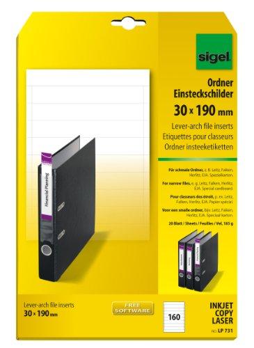 SIGEL LP731 Ordner-Einsteck-Schilder schmal (A4, 160 Stück, 30 x 190 mm) 20 Blatt weiß