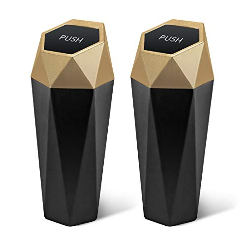 Car Trash Can with Lid, New Car Dustbin Diamond Design, Leakproof Vehicle Trash Bin, Mini Garbage Bin for Automotive Car, Home, Office, Kitchen, Bedroom, 2PCS (Gold)