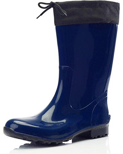 Ladeheid Botas Antideslizantes en PVC Mujer LA-968 (Azul Oscuro/Negro, 38 EU)