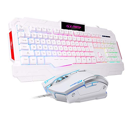 PC Gaming Keyboard and mouse Combo, GK806 LED Rainbow Backlit USB Keyboard and Mouse Set, G7 Gaming Mouse and Keyboard 104 Key Computer PC Gaming Keyboard with Wrist Rest-White