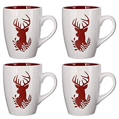 Set of Country Stag Stoneware Dishwasher Microwave Safe Mugs - D8cm