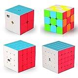 MINGZE Cubo Magico Pack, Speed Cube 3x3+2x2+4x4+5x5, Cubo de la Velocidad Sin Pegatinas Caja de Regalo de 4 Piezas Set (Stickerless) (2x2 3x3 4x4 5x5 Coloful)