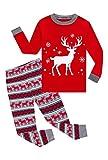 KikizYe Little Girls Long Sleeve Christmas Pajamas Sets 100% Cotton Red Holiday Pyjamas Toddler Kids Xmas Snowflake Pjs Size 5 Reindeer