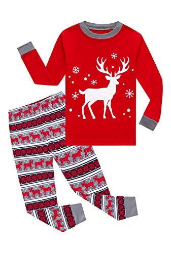 KikizYe Little Girls Long Sleeve Christmas Pajamas Sets 100% Cotton Red Holiday Pyjamas Kids Xmas Snowflake Pjs Size 6 Reindeer