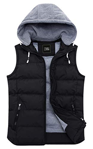 ZSHOW Men's Winter Removable Hooded Cotton-Padded Vest Outerwear Jackets(Black,X-Large)