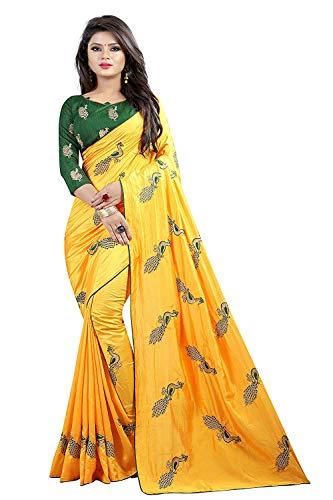 VintFlea Bollywood Designer Party Wear Damen Seide bestickt Sari mit Bluse Teil (Pfau_Mehrfarbig) - Gelb - 5.5 Meter