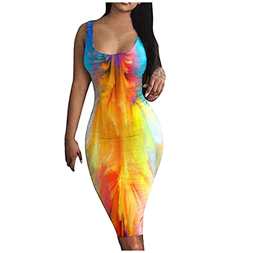 WYBD - Vestido de noche sexy para mujer, diseño de flores, talla grande, sin mangas 12 amarillas S