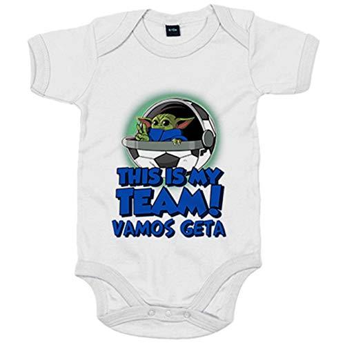 Body bebé parodia baby Yoda mi equipo de fútbol Vamos Getafe - Blanco, 12-18 meses