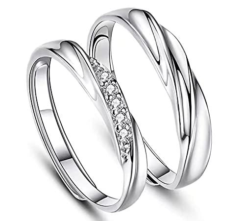 Juliyeh Anelli coppia in Argento Sterling 925,fedine fidanzamento coppia,Squisita confezione di rose box,Regolabile.