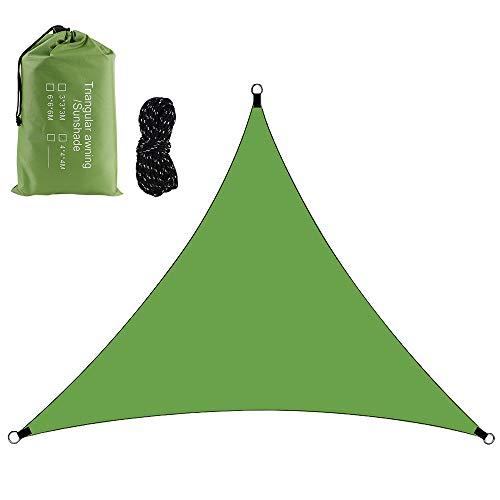 FSYEU Sonnensegel Wasserdicht Dreieck, Sonnenschutz Plane, Windschutz mit UV Schutz Atmungsaktiv Tear Resistant, für Garten Balkon Überdachung Terrasse Camping, 4 m x 4 m x 4 m mit Seilen (Grün)