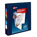 Avery Heavy Duty View 3 Ring Binder, 1.5' One Touch EZD Ring, Holds 8.5' x 11' Paper, 1 Navy Blue Binder (79805)