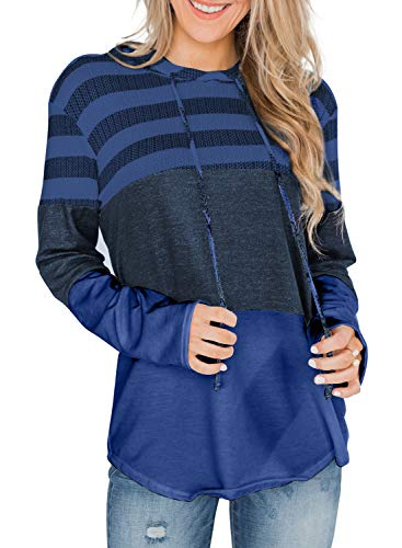 BTFBM Women Casual Hoodies Sweatshirt Lightweight Striped & Color Block Drawstring Long Sleeve Relaxed Fit Pullover Shirt Top