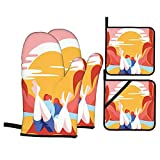 Juego de 4 manoplas para horno y soportes para ollas,colorida imagen de dibujos animados de romance de verano de una pareja joven en la arena con palmeras al océano,guantes de barbacoa con