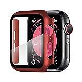 Wenearn Cover per Apple Watch 40mm Series SE/4/5/6, Custodia + Protezione Schermo AntiGraffio HD, Pellicola Protettiva in Vetro Temperato e Case PC Pieno Ultra Sottile Paraurti (Rosso)