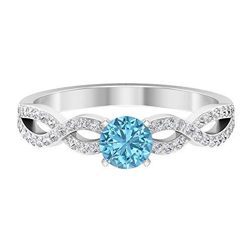 Rosec Jewels 18 quilates oro blanco redonda round-brilliant-shape H-I Blue Diamond Aquamarine