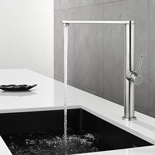 Faulkatze 360° drehbar Küchenarmatur Edelstahl Wasserhahn Küche Armatur Mischbatterie Spültischarmatur Einhebelmische, Matt
