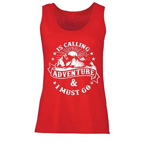 lepni.me Camisetas sin Mangas para Mujer Is Calling Adventure - Ropa de Vacaciones para Vacaciones en Familia, Senderismo en la montaña (Medium Rojo Multicolor)