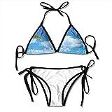 huatongxin Conjunto de Bikini Ajustable Halter Ladies Swimming Costume, Tropical Exotic Seashore with Palm Trees and Clear Sky Island Nature Summertime,Traje de baño Halter Beach