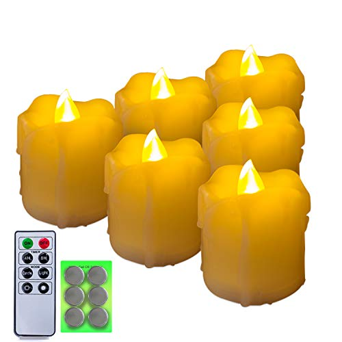 Homemory 400+ Hours 6 Pack Flameless LED Votive Candles with Timer, Battery Operated and Remote Control, Flickering Tea Lights 1.5x1.7 inches -Valentines Day, Thanksgiving