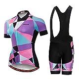Maillot de ciclismo de manga corta y pantalones cortos acolchados tipo babero de verano para mujer - Morado - etiqueta L