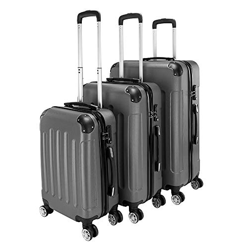 3 Pcs Luggage Set, Hard Shell Suitcase Light Weight ABS with 4 Spinner Wheels Business Trip Trolley Case 20/24/28 Inch (Dark Gray Set)