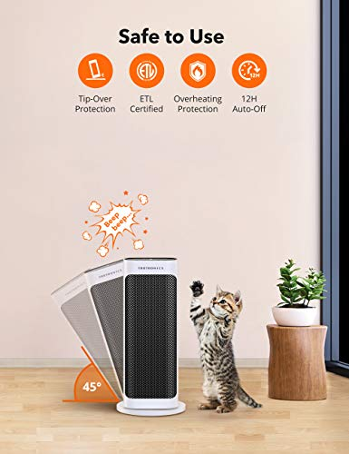 """TaoTronics Space Heater PTC 1500W Fast Heating Ceramic Tower Fan Heater 18"""" High Oscillating Portable & Quiet with Remote ECO Mode 7H Timer Tip-Over Switch Overheating Protection LED Display TT-HE009"""