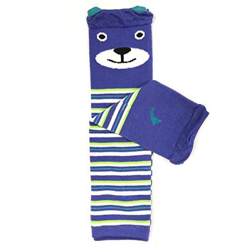 Baby leg warmers with bear and stripe design