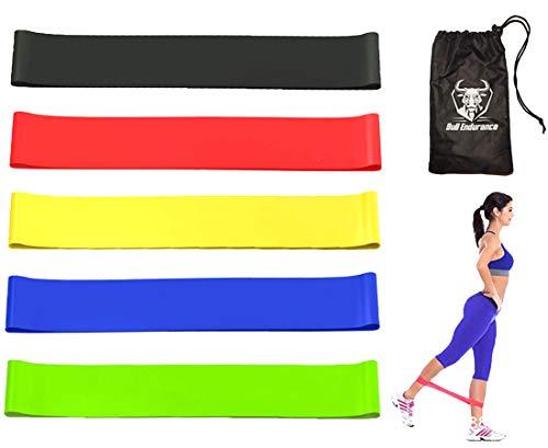 Bull Endurance Resistance Mini Loop Resistance Exercise Bands 5 pcs Set with a Sweat Resistant Carry Pouch, bandas elasticas de resistencia para hacer ejercicios
