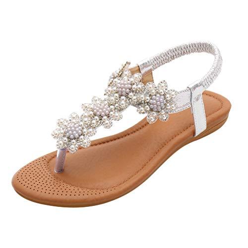 Sandalias Mujer Verano 2019 Plano Chanclas - Cristal Casual Elástico Banda Bohemio Zapatos - Talla 35-41 - para Playa Fiesta