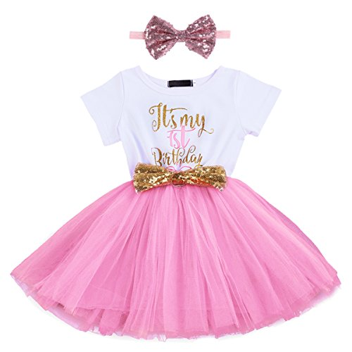 Newborn Baby Girl Princess It's My 1st/2nd Birthday Party Cake Smash Shinny Sequin Bow Tie...