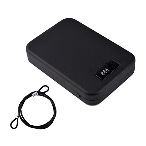 Nuzamas - Caja de seguridad portátil de acero con cerradura de combinación para viajes, coche o uso doméstico