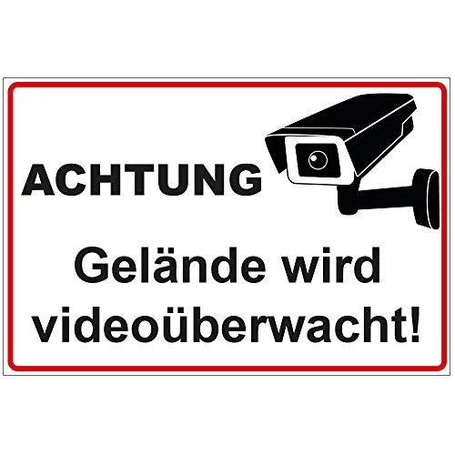 Schild Achtung - Gelände Wird videoüberwacht aus Alu/Dibond 300x200 mm - 3 mm stark