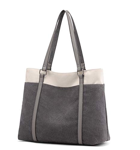 Wxnow Canvas Tote Bag for Women Retro Casual Tote Purses School Work Travel and Shopping (C-Light grey)