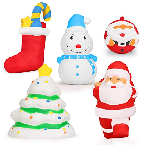 EKOOS Christmas Squishies Toys, Santa, Christmas Tree, Stocking, Snowman Squishy Soft Slow Rising Jumbo Squishies Kids Cream Scented Squishy Stress Relief Toys for Girls Boys Christmas Party Favors