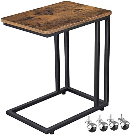 Best VASAGLE Industrial Side Table, Mobile Snack Table for Coffee Laptop Tablet, Slides Next to Sofa Couc