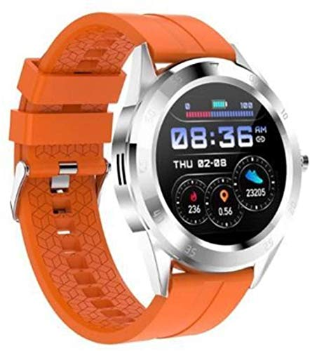 Reloj inteligente para mujer y hombre, monitor de ritmo cardíaco, reloj inteligente para Android, rastreador de actividad física, reloj inteligente para hombres (color: verde)-naranja