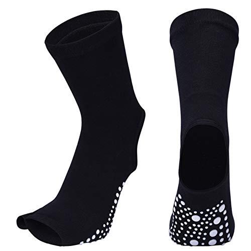 ZYSTMCQZ Calcetines de yoga antideslizantes de secado rápido para pilates, talón de algodón, con ventilación, para mujer, Fitnes (color: negro)