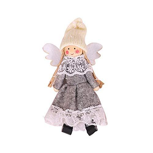 Brownrolly kerstspop hangende decoraties vleugels engel hanger kerstboomversiering deur wandbehang decoratie huis ornamenten patio gazon tuin party Halloween decoratie golvend effect grijs