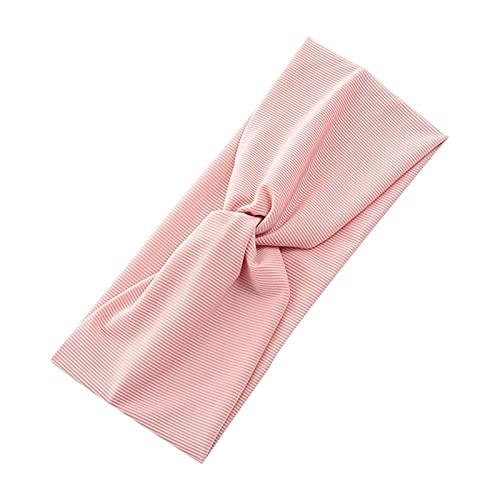 Yoga Stirnband Elastisches gestreiftes Kopftuch Sport Laufen Yoga Stirnband Reines Baumwolle Weit Haarband Headcar-Kopfbedeckung Haarschmuck (Color : Pink)