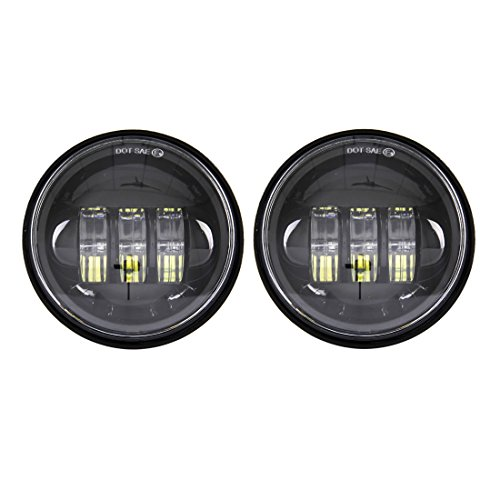 SKUNTUGUANG 2 pcs Noir 11,4 cm 30 W Noir LED brouillard auxiliaire Phare Moto Passing Fog Light Lampe pour Harley Davidson