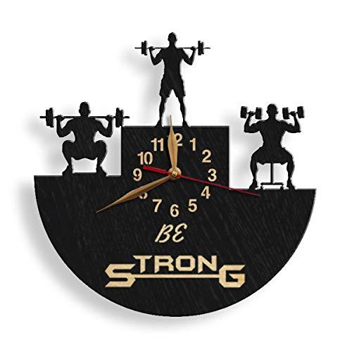 monastar Weightlifting Wood Wall Clock -Select Size, Design, Personalization- Big Large Strongman Weightlifter Gift Powerlifting Powerlifter Bodybuilder Bodybuilding Coach Gift Strong Wall Art Déco