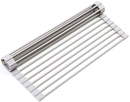 Surpahs Over The Sink Multipurpose Roll-Up Dish Drying Rack (Warm Gray, Small)