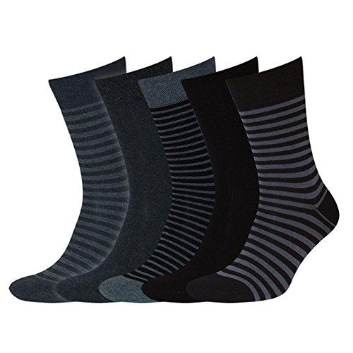 Sympatico 43120 Herren Socken 5er Pack weicher Komfortbund formbeständig Stretc, Groesse 43-46, 1x schwarz/1x grau/3x geringelt
