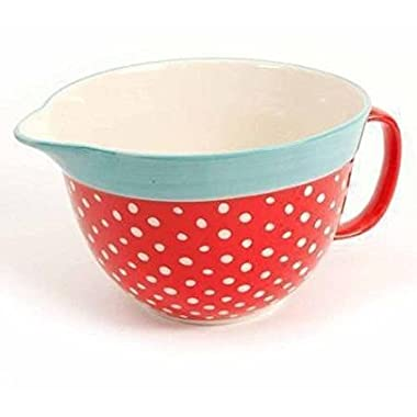 The Pioneer Woman Flea Market 2.83-Quart Batter Bowl with Decal, Red Polkadot (1)