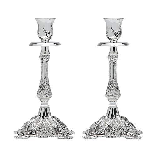 Conjunto de 2 Castiçais Ornamentais de Zinco Rojemac Cinza